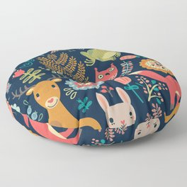 Forest friends - navy Floor Pillow