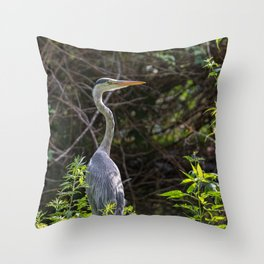 Gray heron on the edge of a pond Throw Pillow