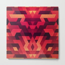 Abstract  geometric triangle texture pattern design in diabolic future red Metal Print