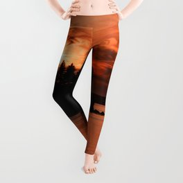 Red Sky At Night Photography Print Leggings