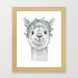 Alpaca with wreath Framed Art Print