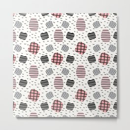 Modern pastel pink black white geometrical trendy pattern Metal Print