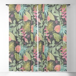 Exotic Garden Tropical Illustration, Floral, Bright and Colourful Caribbean Style Sheer Curtain