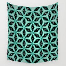 Diamond pattern in blue Wall Tapestry