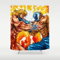 muscle Shower Curtains featuring Muscle Bomber by VGPrints