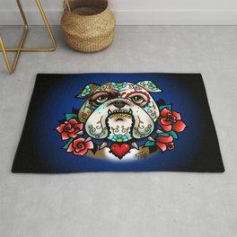 Sugar Skull Bulldog with Roses Rug