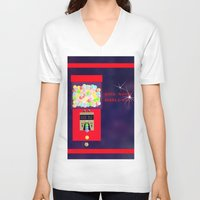 gumball V-neck T-shirts featuring Super Moon Gumball Machine by Mel Moongazer