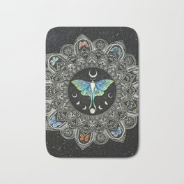 Lunar Moth Mandala with Background Bath Mat