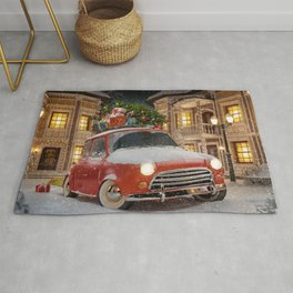 Christmas gifts New Year car with gifts 2017 Christmas Tree New Years Eve Rug