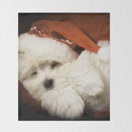 Sleepy Santa Puppy Throw Blanket