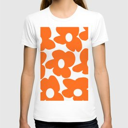 Orange Retro Flowers White Background #decor #society6 #buyart T-shirt