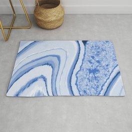 Blue Crystal Watercolor Effect Design Rug