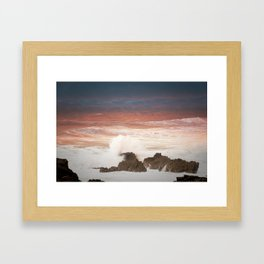 sunset on the waves(Hartland uk) Framed Art Print