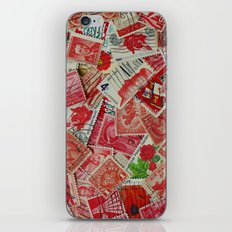 Vintage Postage Stamp Collection - Red iPhone & iPod Skin