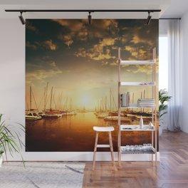 Golden Marina Sunset Wall Mural