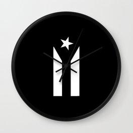 Puerto Rico Black & White Protest Flag Wall Clock
