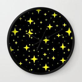 Bright Yellow Stars in Space , Cristmas Stars Wall Clock