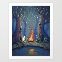 moomin Art Prints featuring Moomin's night by nokeek