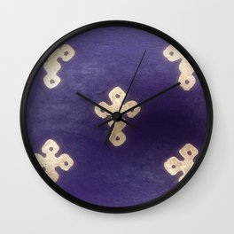 Golden Crosses on Purple Wall Clock