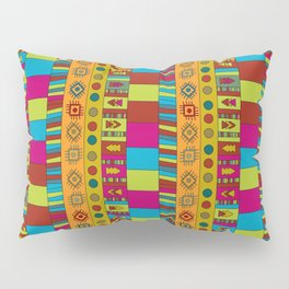 Abstract hand drawn Ethno design  in vivid colours. Pillow Sham