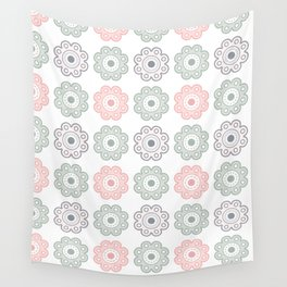 Pastel Pink and Green Floral - Large Wall Tapestry