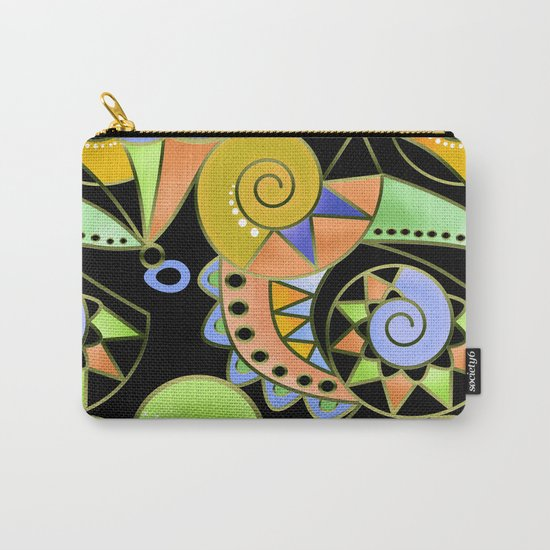 Abstract black green , colorful ornament . Carry-All Pouch