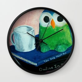 You Are Hootiful Owl and Books Art Wall Clock