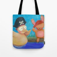 pirates Tote Bags featuring Pirates ! by Pinkpandas