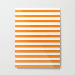 Narrow Horizontal Stripes - White and Orange Metal Print