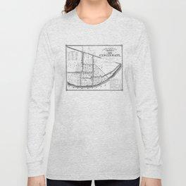 Vintage Map of Cincinnati Ohio (1841) BW Long Sleeve T-shirt