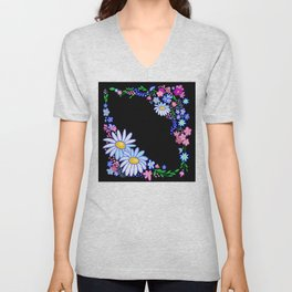 Abstract flowers frame Unisex V-Neck