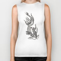 data Biker Tanks featuring Data Fish by Samantha Witherford