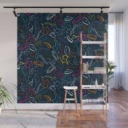 flora indigo Wall Mural
