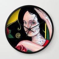 dia de los muertos Wall Clocks featuring Dia de los Muertos by whiterabbitart