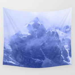 Rocky Mountain Fog Blue Wall Tapestry