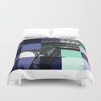 eiffel Duvet Covers featuring EIFFEL by Marcela Solana