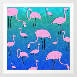 Flamingo Pond Art Print
