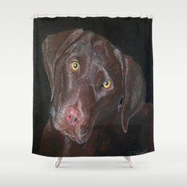 Inquisitive Chocolate Labrador Shower Curtain
