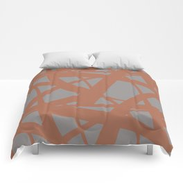 Cavern Clay SW 7701 Abstract Mosaic Pattern 3 on Slate Violet Gray SW9155 Comforters