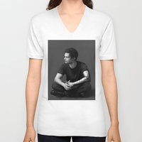 bucky barnes V-neck T-shirts featuring Bucky Barnes by E Cairns Art