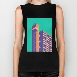 Trellick Tower London Brutalist Architecture - Plain Turquoise Biker Tank