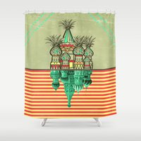 architecture Shower Curtains featuring Pineapple architecture  by AmDuf