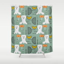 Mid-century spooky pattern Shower Curtain