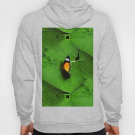 Orange Butterfly on Green Leaf Hoody