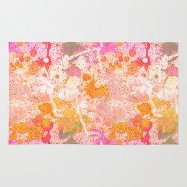 Abstract Paint Splatters Pink & Orange Rug