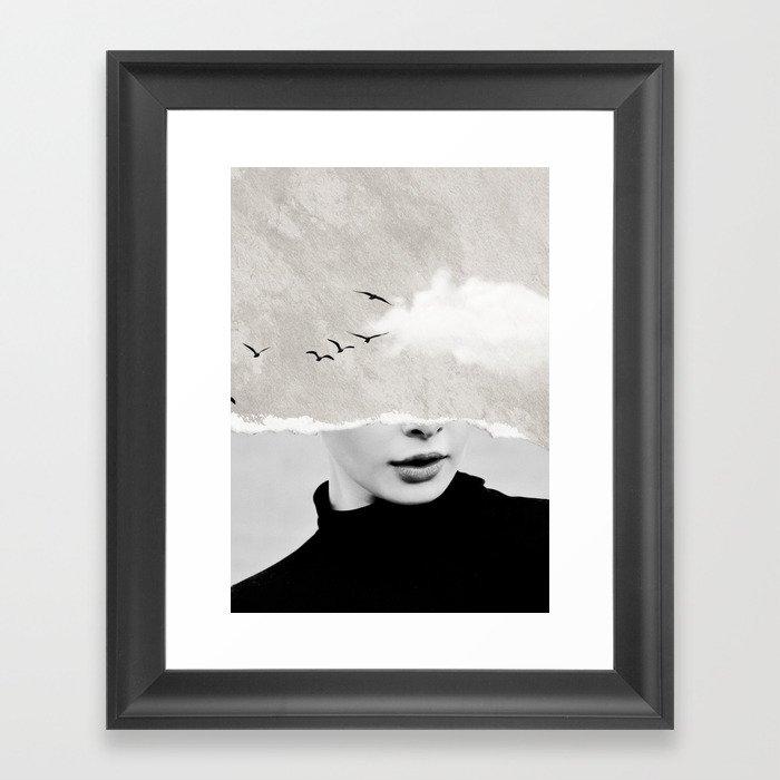 minimal collage /silence Gerahmter Kunstdruck