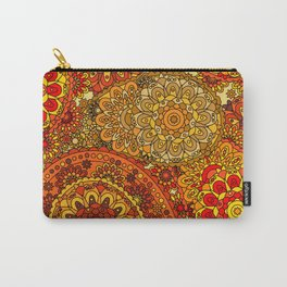 1960's Hippie Retro Mandala in Red, Gold, Orange Carry-All Pouch
