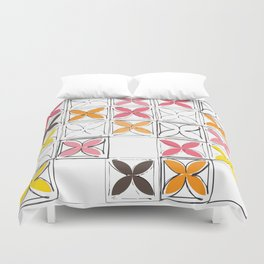 Mid-Century Cinder Blocks Pattern in Pink, Orange and Yellow Duvet Cover