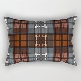 Dark black and blue plaid checkered Scandinavian design Rectangular Pillow
