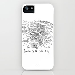 Salt Lake City Illustrated Map iPhone Case